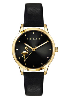 Ted Baker London Fitzrovia Flamingo Leather Strap Watch, 34mm