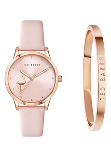 Ted Baker London Fitzrovia Flamingo Leather Strap Watch Set, 34mm