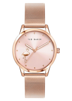 Ted Baker London Fitzrovia Flamingo Mesh Strap Watch, 34mm