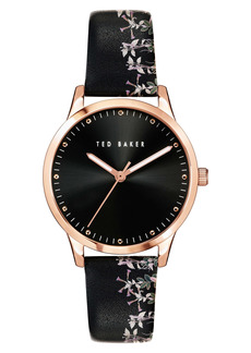 Ted Baker London Fitzrovia Jardin Leather Strap Watch, 34mm