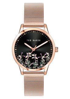 Ted Baker London Fitzrovia Jardin Mesh Strap Watch, 34mm