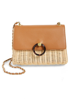 Ted Baker London Janiya Faux Leather & Woven Rattan Crossbody Bag