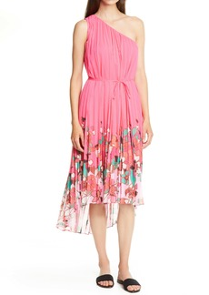 Ted Baker London Pinata Floral Pleated Asymmetrical One Shoulder Dress