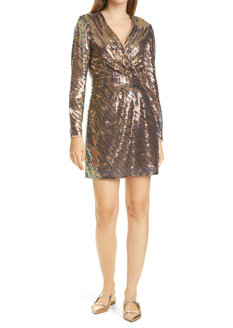 Ted Baker London Pipii Sequin Long Sleeve Faux Wrap Cocktail Dress