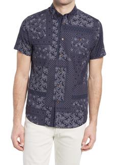 Ted Baker London Romkom Mix Print Button-Down Short Sleeve Sport Shirt