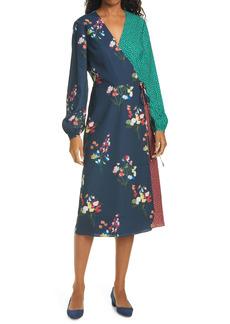 Ted Baker London Talissa Mix Print Long Sleeve Faux Wrap Dress