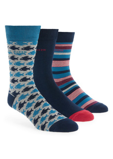Ted Baker London Waterfall Assorted 3-Pack Crew Socks