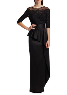 Teri Jon Asymmetric Lace Ruffle Column Gown