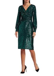 Teri Jon Blouson Sleeve Sequin Sheath Dress