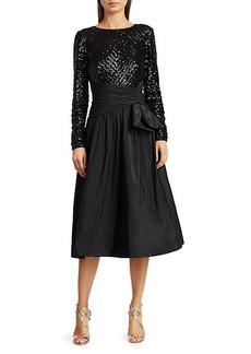 Teri Jon Geometric Sequin & Taffeta Cocktail Dress