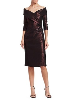 Teri Jon Metallic Portrait Neckline Cocktail Dress