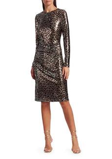 Teri Jon Sequin Leopard Print Sheath Dress