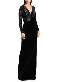 Teri Jon Stretch-Velvet Sequin Gown