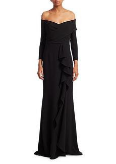 Teri Jon Three-Quarter Crepe Ruffle Column Gown
