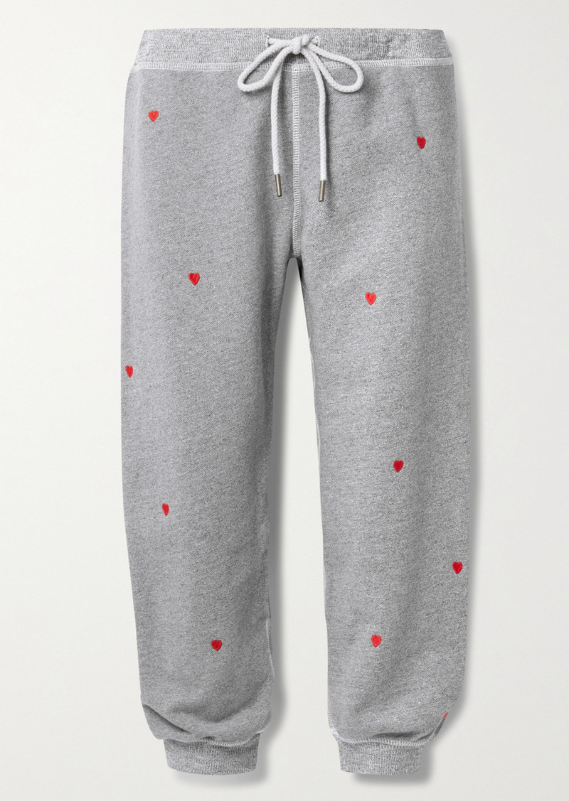 The Great Cropped Embroidered Cotton-blend Terry Track Pants