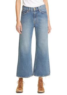 THE GREAT. Rider High Waist Wide Leg Jeans (Traveler Wash)