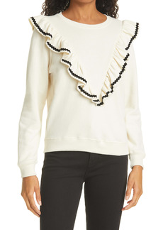 THE GREAT. Ruffle Shrunken Sweatshirt
