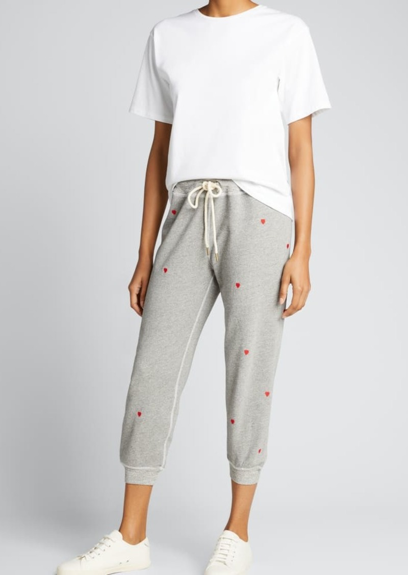 The Great The Cropped Sweatpants with Heart Embroidery