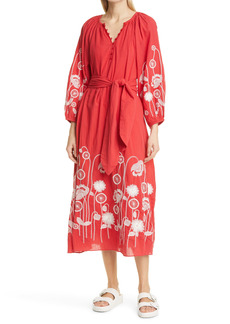 THE GREAT. The Derby Trellis Embroidery Long Sleeve Cotton Midi Dress
