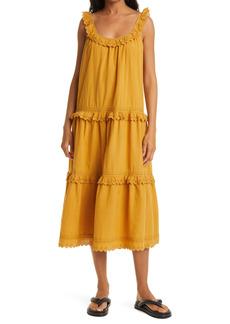 THE GREAT. The Eyelet Magnolia Ruffle Cotton Midi Dress
