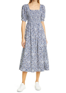 THE GREAT. The Savanna Floral Smocked Midi Dress