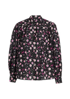 The Kooples Floral Cotton & Silk Band-Collar Shirt
