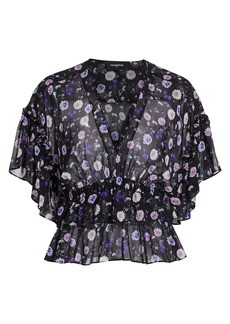 The Kooples Printed V-Neck Silk Top