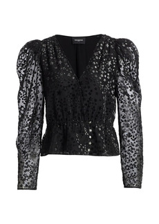 The Kooples Star Puff-Sleeve Blouse