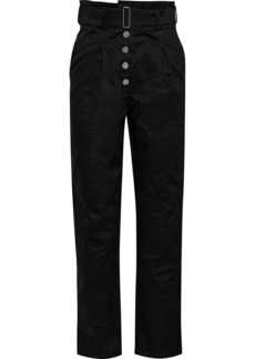 The Range Woman Belted Stretch-cotton Twill Straight-leg Pants Black