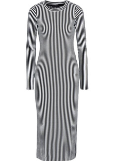 The Range Woman Bound Striped Stretch-knit Midi Dress Black