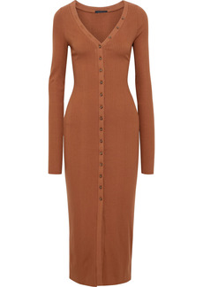 The Range Woman Division Ribbed Jersey Midi Dress Tan