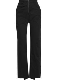 The Range Woman Lace-up Stretch-cotton Twill Straight-leg Pants Black