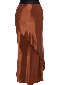 The Range Woman Wrap-effect Satin Maxi Skirt Copper