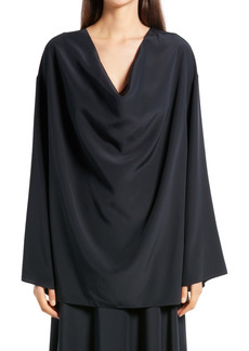 The Row Banat Cowl Neck Silk Crepe Blouse