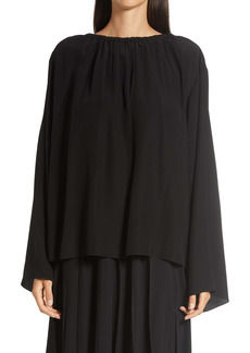 The Row Campo Bell Sleeve Gathered Silk Georgette Top