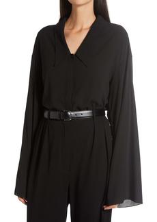 The Row Fabio Bell Sleeve Stretch Silk Georgette Shirt