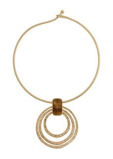 The Sak Hammered Ring Tiger's Eye Stone Necklace