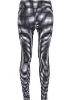 The Upside Woman Cropped Gingham Stretch Leggings Navy
