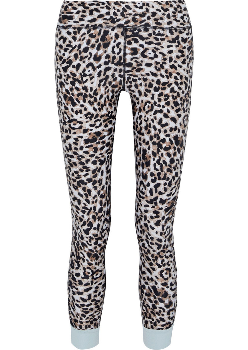 The Upside Woman Water Leopard Cropped Printed Stretch Leggings Animal Print