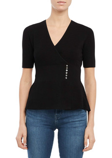 Theory Button Detail Wrap Front Short Sleeve Sweater