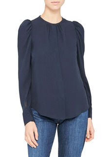Theory Classic Ruched Long Sleeve Silk Blouse