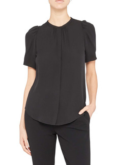Theory Classic Ruched Short Sleeve Silk Blouse