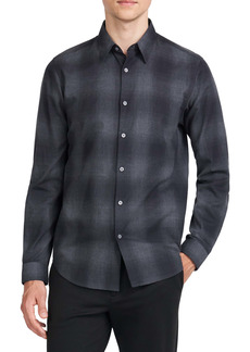 Theory Irving Flanella Check Button-Up Shirt