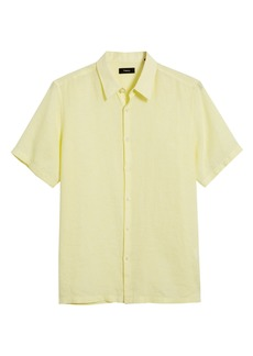 Theory Irving Slim Fit Short Sleeve Button-Up Linen Shirt
