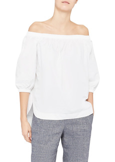 Theory Vendome Poplin Off the Shoulder Top