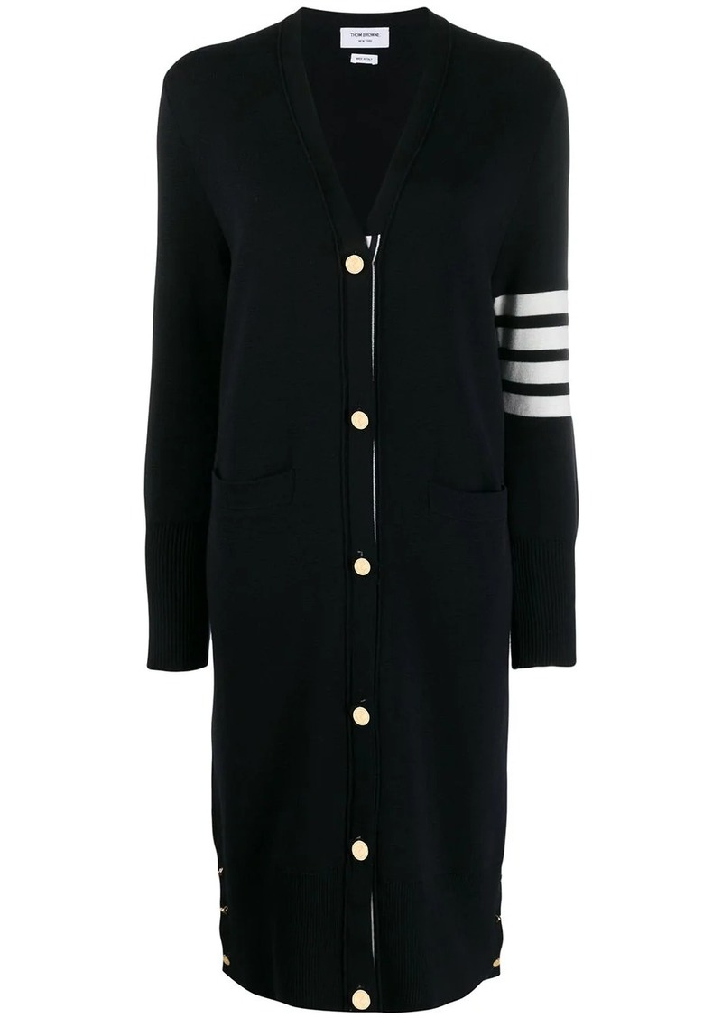 Thom Browne 4-Bar v-neck long cardigan