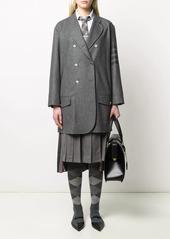 Thom Browne tonal 4-Bar double-breasted coat