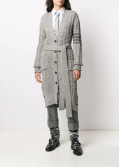 Thom Browne aran cable-knit 4-Bar cardi-coat