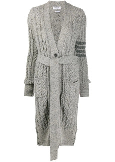 Thom Browne cable-knit 4-Bar cardi-coat
