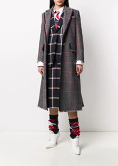 Thom Browne tricolor hunting tweed single-breasted overcoat